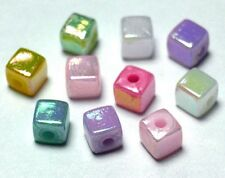 200 Acrylic Colourful AB 4mm x 4mm Cubes, Squares Mixed Colour (BOX60)