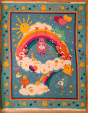 2003 CARE BEARS BLUE RAINBOW DOUBLE-SIDED PRE-QUILTED NURSERY FABRIC PANEL