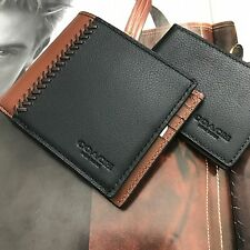 Coach Men's Black Brown Compact ID Baseball Leather Bifold Wallet NWT F75170
