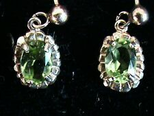 Vintage 9ct Solid  Gold Peridot Oval Earrings