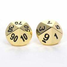 Solid Metal d100 Percentile Pair (Set of 2 Dice) Bright Gold D10 D10's