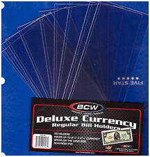 (25) SMALL BCW DELUXE CURRENCY SLEEVE BILL NOTE HOLDERS PAPER MONEY SEMI RIGID