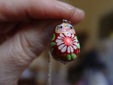 RUSSIAN BABUSHKA MATRYOSKA NECKLACE -  RED & GOLD  WITH A WHITE FLOWER