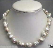 Large 15-20mm White Unusual Baroque Pearl Necklace disc Clasp 18""