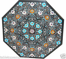 """42""""x42"""" Black Marble Dining Table Top Inlaid Marquetry Mosaic Outdoor Decor Arts"""