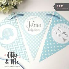 Handmade Personalised Baby Shower Bunting/Banner Decoration Elephant Blue Boy