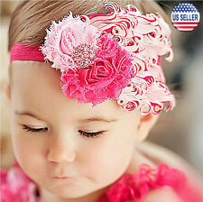 Baby Flower Feather Elastic Hairband Headband Toddler Girls US Stock (Flamingo)