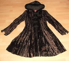 NOMADS rich BROWN VELVET embroidered BLACK fur SWING COAT Jacket Sm 8 -10 UK