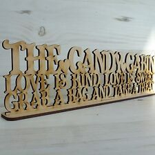 MDF Wooden CANDY CABIN Sweet Trolley wedding word Sayings plaque sign wood art