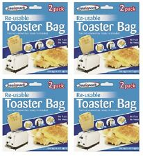 8 pack Reusable Toaster Toastie Sandwich Toast Bags Pockets Toasty Toastabags