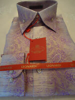 Mens Leonardi Shirt w/Stand Up High Collar Taupe & Lavender Paisley Style# 262