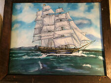"""Huge George E Taylor """"Masted Ship At Sea Scene"""" Oil On Canvas Painting- Framed"""