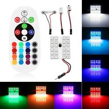 24SMD LED RGB Car Dome Light Atmosphere Lamp Interior Panel Reading Bulbs+Remote