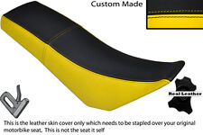 BLACK & YELLOW CUSTOM FITS DERBI SENDA BAJA 125 DUAL LEATHER SEAT COVER