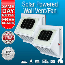 2 x NEW Solar Powered Wall Vents / Exhaust Fan/ Air Extraction Vent Solar