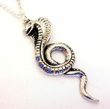 Blue Crystal Wadjet Cobra Snake Amulet Pendant Necklace Egyptian Jewels of Atum