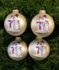 LOT OF 4 WHITE FROSTED CHRISTMAS BALLS w/ GLITTERED SNOWMAN COUPLE SCENE