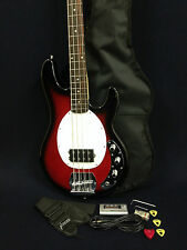 Caraya 4-String Electric Bass Guitar Dark Cherry w/Pre-Amp +Free gig bag, Strap