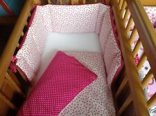 Cushi cot girls swing crib bumper and duvet set Flamingo hot pink and white  new