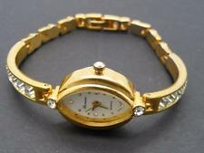 Ronica Quartz Wristwatch Goldtone Band Crystal Watch Rhinestone Flowers Works