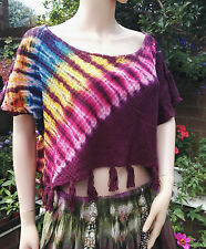 Fair Trade Gringo Plum Rainbow Tie-Dye Cropped Cotton Poncho Hippy Festival Boho