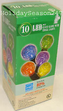 10 LED Glass Globe With Tinsel Light String Set Multi Color Christmas Holiday