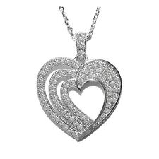 """NEW  PAVE 1 SIDE TRIPLE HEART CUBIC ZIRCONIA PENDANT NECKLACE 24MM -16 TO 18"""""""