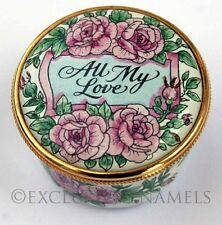 Staffordshire Enamels All My Love Roses And Ribbons Enamel Box