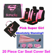 20 PC Supergirl Girly Pink Car Seat Cover Mat Set Wheel Glove Pads + Tuning Kit