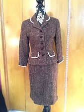 Maggy London Tweed Skirt Suit, sz 6, Browns/Lite mauve/Burgundy, Lined, EUC!!