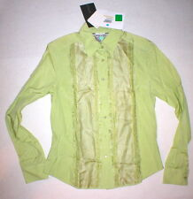 New Womens 8 NWT Italy Silk Sportmax Max Mara Blouse Green 44 Fringe Work Office