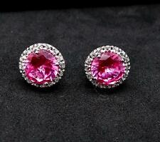 Stunning 5.00ctw Pink & White Sapphire 925 Sterling Silver Stud Earrings 3g