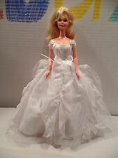 Late 1990s Superstar Era Barbie Doll w Tagged White Wedding Gown Lace Dress Bows