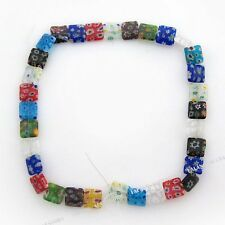1String Hotsale Charms Mixed Flowers Square Millefiori Glass Spacer Beads 12mm L