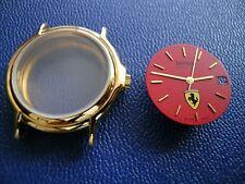 ETA 2824-2: vergoldetes Uhrgehäuse mit Glasboden; Zifferblatt FERRARI + Zeiger