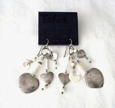"VINTAGE 'TABRA"" DANGLE EARRINGS--STERLING HEARTS AND ABALONE  WITH ORIGINAL TAG"