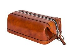 "Bosca Old Leather Zippered 10"" Toiletry Shave Dopp Kit 577 Amber"