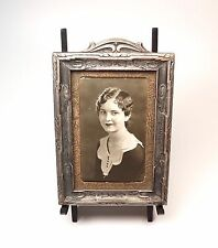 """Vintage 1920s Silver Wash Carved Wood Photo Picture Frame + Photo 7.75"""" High"""