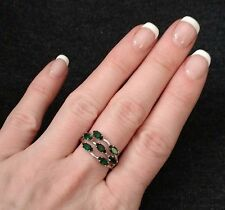 Vintage Silver Tone Sarah Coventry Women's Size 7.5 Ring 7 Green Rhinestones