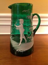 Antique Mary Gregory Emerald Green Pitcher Hand Blown Glass with Pontil Column