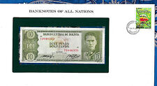 Banknotes of All Nations Bolivia  P154 10 Pesos 1962 UNC Serie T2 Paz & Prado