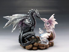 "Dragon Family Elder Black Dragon and Little Dragons Figurine 8"" Height Statue"