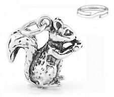 """SILVER  """"3D SQUIRREL EATING NUT"""" CHARM WITH SPLIT RING"""