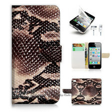 iPhone 5 5S Print Flip Wallet Case Cover! Snake Skin Leather P1445