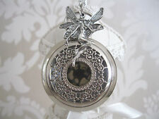 New Angel/Fairy Fantasy Steampunk Goth Silver Quartz Pocket Watch Necklace Gift