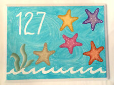 Hand Painted Address Wall Plaque House Sign Personalized Starfish Beach Fun