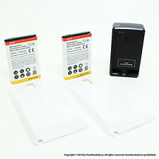 2 x 7000mAh Extended Battery for Samsung Galaxy Note 3 N9000 White Cover Dock