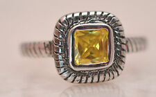 SQUARE TOPAZ NOVEMBER BIRTHSTONE RING  Genuine Sterling Silver.925 Size 5