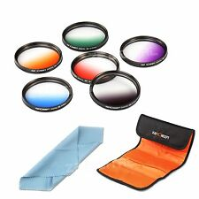 67mm Graduated Color 6pcs Filter Kit Set For Canon Nikon Camera 67MM Lens +Cloth
