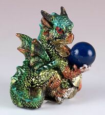 "Green Mini Dragon With Blue Marble Gem 2"" Detailed Resin New!"